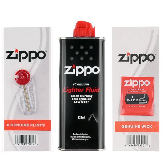 【ZIPPO】3樣合購優惠組合(小罐補充油 打火石 棉芯)