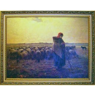 【開運陶源】大幅93x73cm-驚豔米勒 田園之美(牧羊女與羊群)