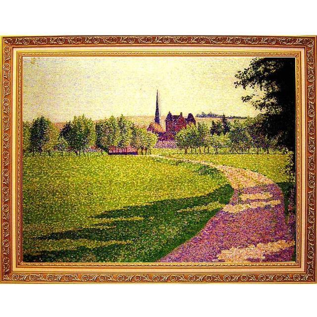 【開運陶源】Lucien Pissarro路西安畢沙羅.大幅93x73cm(厄哈格尼教堂)