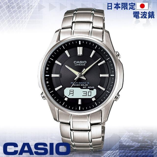 【CASIO 卡西歐 電波錶】薄型-六局電波時計-旅行者最愛(LCW-M100D 黑銀)