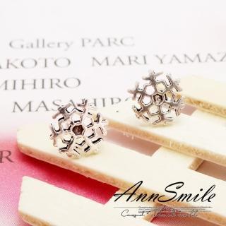 【微笑安安】銀黑小雪花925純銀針式耳環