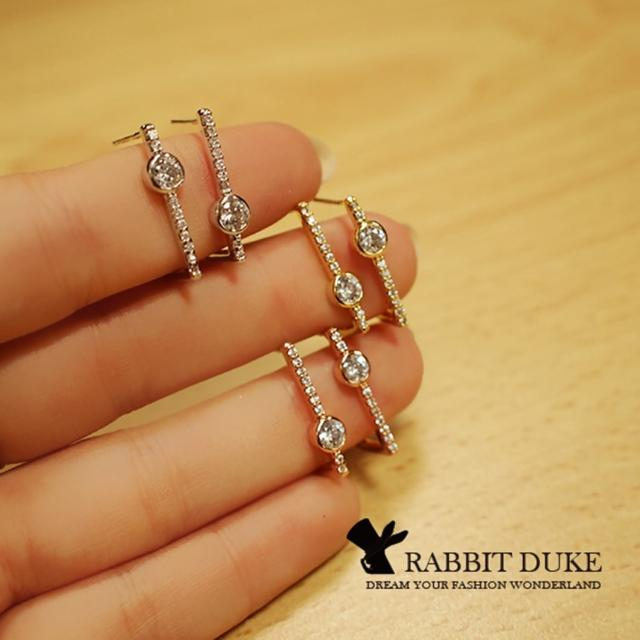 【RD 兔子公爵】現貨 經典歐美風格 個性D型直線鑲鑽設計耳環 千頌伊款(三色)