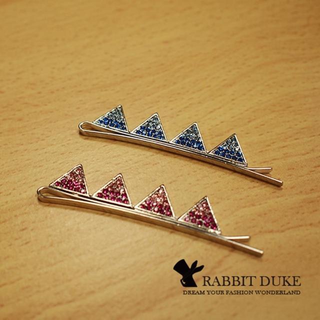 【RD 兔子公爵】現貨 經典歐美風格 個性彩色漸層鑽三角型排列髮夾 千頌伊款(二色)