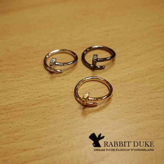 【RD 兔子公爵】現貨 經典歐美風格 個性名品釘子鑲鑽設計造型戒指(三色)