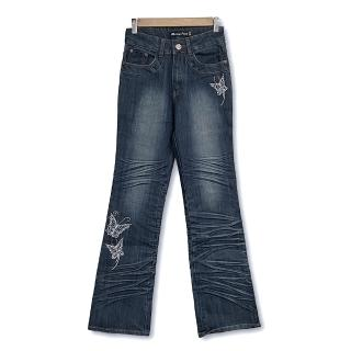 ~RH~蝴蝶花邊立體晶鑽喇叭牛仔褲 深藍全