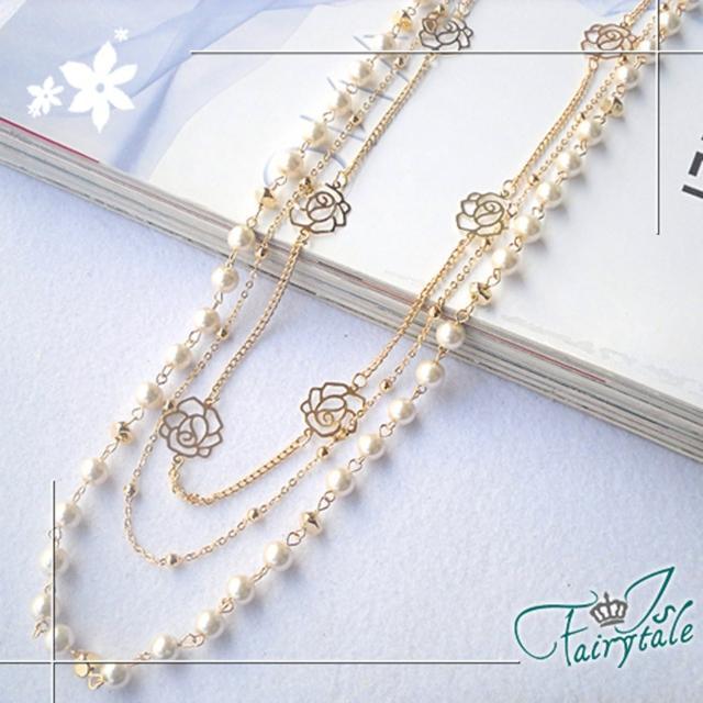 【伊飾童話】亮片玫瑰*珍珠多墬毛衣長鍊