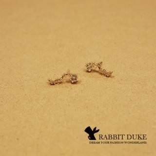 【RD 兔子公爵】現貨 經典歐美風格 個性璀璨星星排列小鑽氣質款耳環(單色)