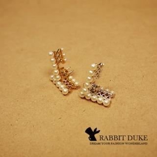 【RD 兔子公爵】現貨 經典歐美風格 個性排列珍珠設計耳環 千頌伊款(二色)