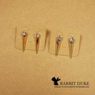【RD 兔子公爵】現貨 經典歐美風格 個性大鑽拼接金屬立體三角柱面耳環(二色)