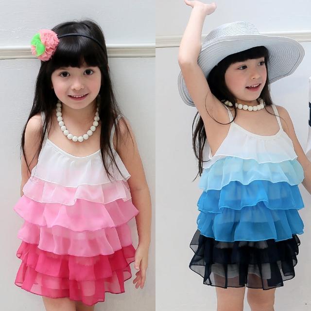 【baby童衣】洋裝 女童雪紡漸層蛋糕裙 42157(共二色)