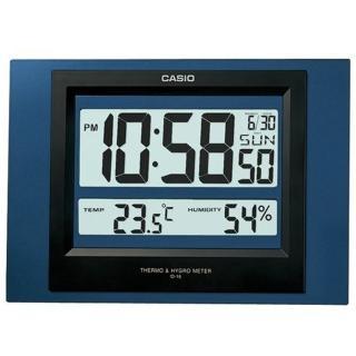 【CASIO 卡西歐】溫溼度電子掛鐘(藍-ID-16S-2DF)
