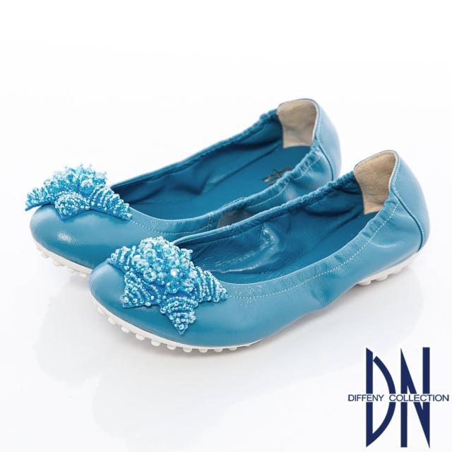 【DN】真皮手工 MIT串珠海星牛皮豆豆鞋(藍)