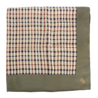 【DAKS】經典正格紋絲質大領巾(綠色)