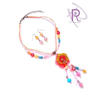 【R.J New York】吉普賽花園耳環項鍊套組(俏麗粉)