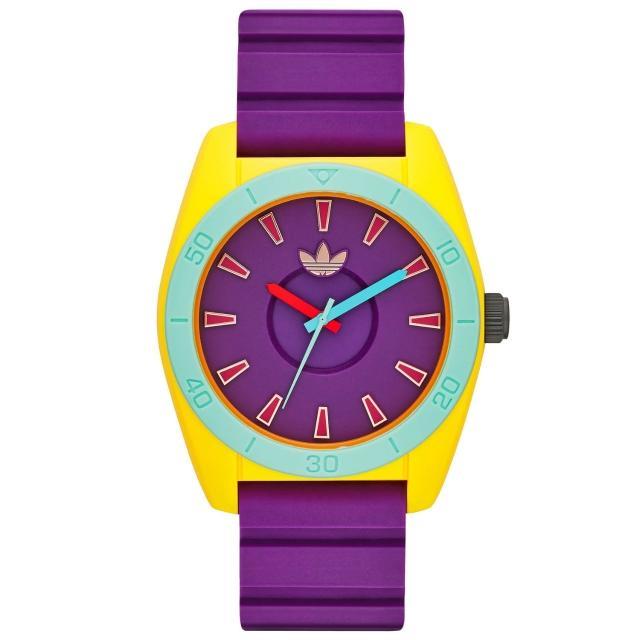 【adidas】極致色彩時刻時尚休閒腕錶-紫帶X紅字(ADH9049)