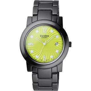 【Vaness】誘惑圓舞曲陶瓷腕錶-綠面黑(V301B2)