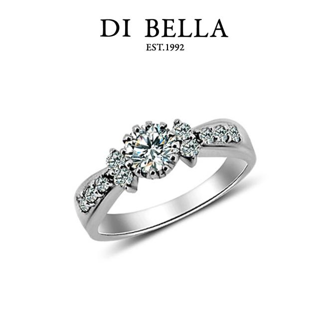 【DI BELLA】優雅現代0.30克拉八心八箭頂級完美鑽戒