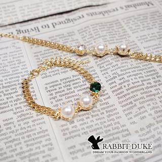 【RD 兔子公爵】現貨 經典歐美風格 個性珍珠拼接寶鑽設計氣質款手鍊(二色)