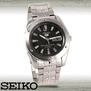 【SEIKO 精工】全日製-黑面直紋機械男錶(SNZF35J1)