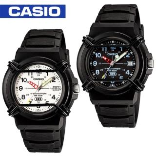 【CASIO 卡西歐】日系-防撞桿保護鏡面指針錶 鏡面4.1cm(HDA-600B)