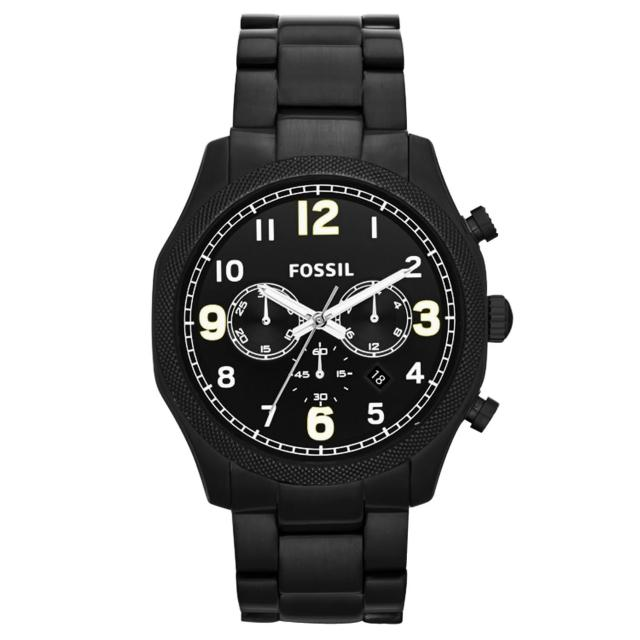 【FOSSIL】黯黑鐵甲武士個性腕錶-黑(FS4864)