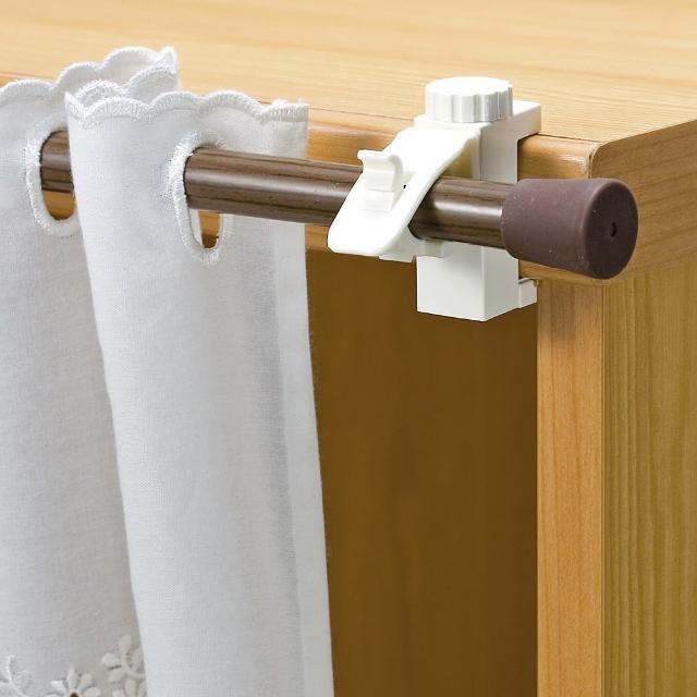 【日本LEC】扣鎖式窗簾桿專用掛勾(2包裝4枚組)