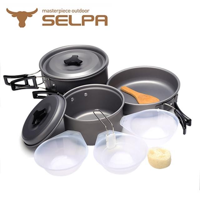 【韓國SELPA】戶外不沾鍋設計鋁合金鍋具七件組/旅行/露營/.