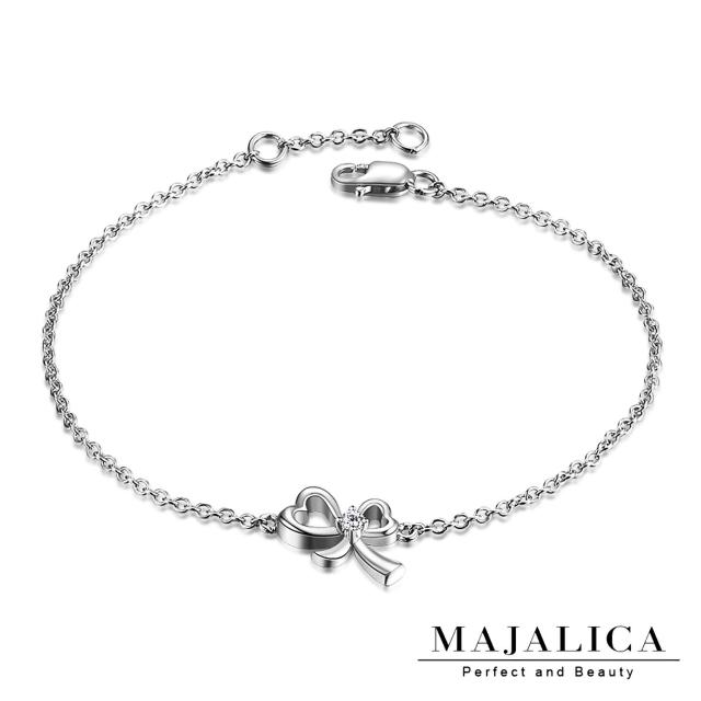 【Majalica】925純銀 愛心蝴蝶結手鍊 名媛淑女款 單個價格 PH03006(銀色)