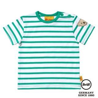 【STEIFF德國精品童裝】短袖 圓領 橫條 上衣 綠(短袖T恤)