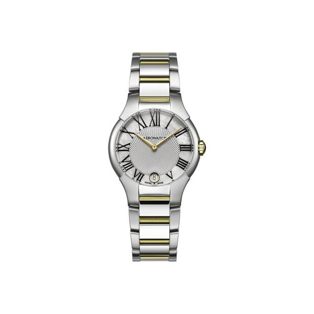 【AEROWATCH】羅馬情人夢時尚女錶-珍珠貝x雙色版/32mm(A06964BI01M)