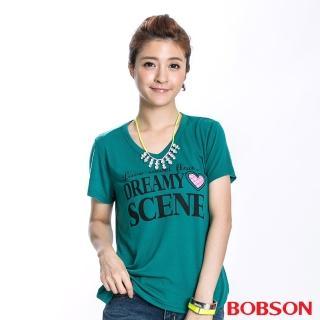 【BOBSON】女款SCENE短袖上衣(綠40)