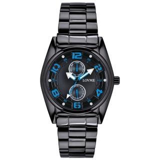【LOVME】彩色三角指針時尚潮流腕錶-黑x藍(VS0777M-33-3B1)