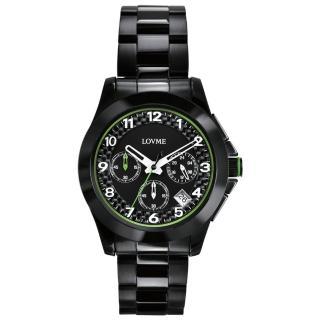 【LOVME】華麗饗宴三眼計時腕錶-黑x綠(VS0133M-33-391)