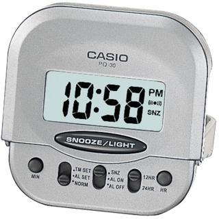 【CASIO 卡西歐】輕巧型摺疊電子鬧鐘(銀-PQ-30-8DF)
