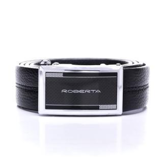 【Roberta Colum】型男設計款碳纖自動金屬滑扣黑牛皮皮帶