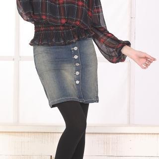 【RH】日系氣質個性造型牛仔短裙(修身造型牛仔藍)