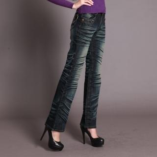 【RH】個性時尚手工抓皺鑽珠牛仔直筒褲(深藍全尺碼最後到貨原價990出清中)
