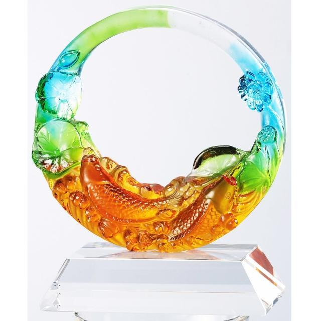 【開元琉璃】琉璃 雙魚(含水晶台座)