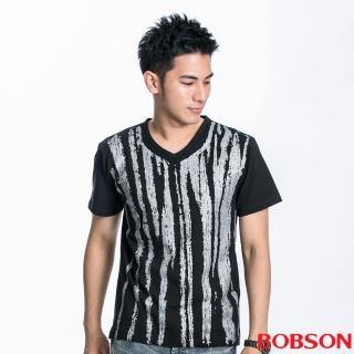 【BOBSON】男款刷紋印圖短袖上衣(黑88)