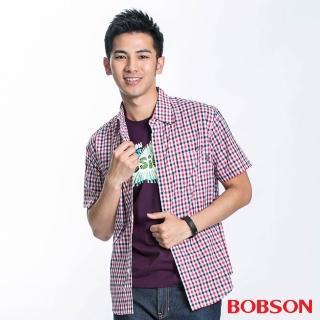 【BOBSON】男款格紋短袖襯衫(紅藍13)
