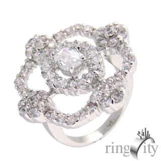 【RingCity】小花環繞梨形鋯石組合鑽戒(白鑽色系列)