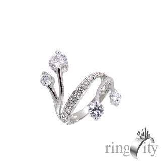 【RingCity】八心八箭流線形造型戒(白鑽色系列)