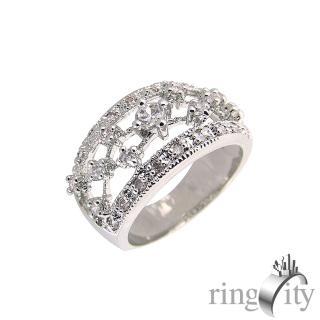 【RingCity】八心八箭立體鏤空鑲嵌造型戒(白鑽色系列)