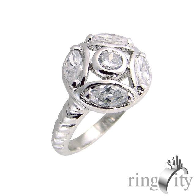 【RingCity】圓形組合造型戒(白鑽色系列)