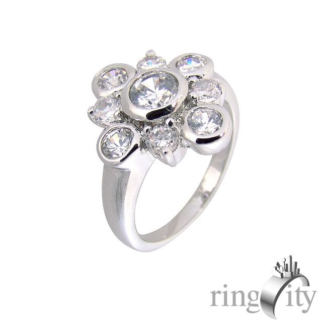 【RingCity】八心八箭圓形組合造型戒(白鑽色系列)