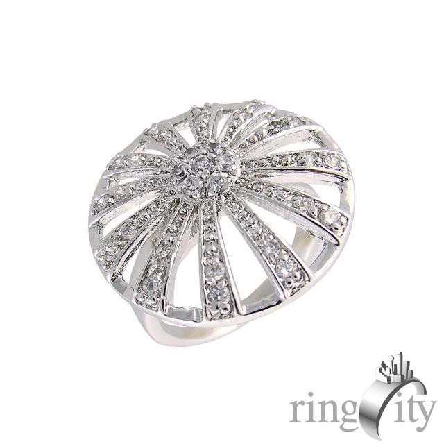 【RingCity】圓形放射狀鏤空造型戒(白鑽色系列)