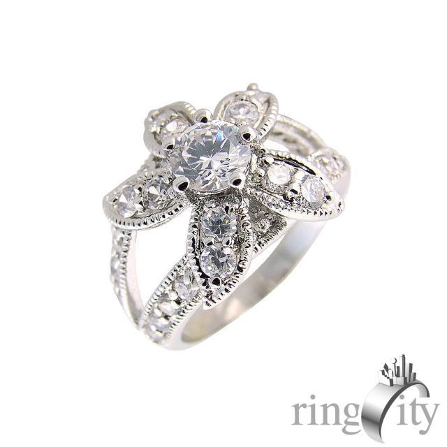 【RingCity】鋯石花形環繞鑽戒(白鑽色系列)