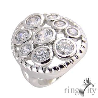 【RingCity】八心八箭圓形組合鏤空造型戒(白鑽色系列)