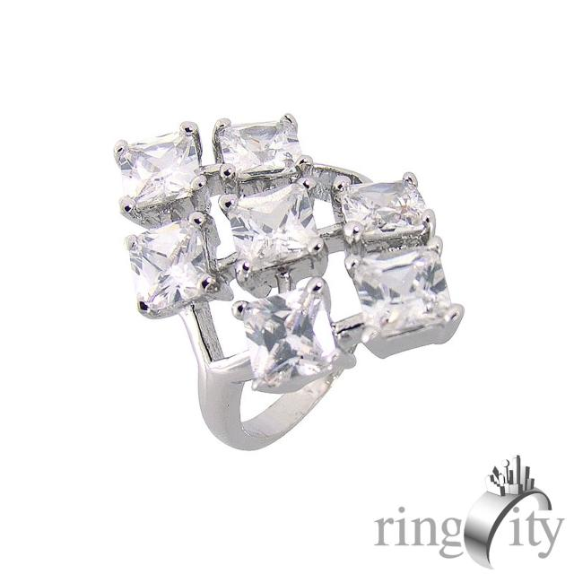 【RingCity】方形鋯石組合鑽戒(白鑽色系列)