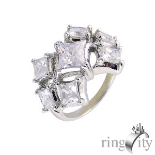 【RingCity】十字星形鋯石組合鑽戒(白鑽色系列)